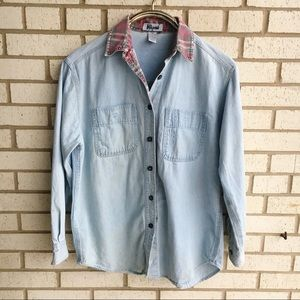 Vintage 90s Chambray Button Down Plaid Collar S